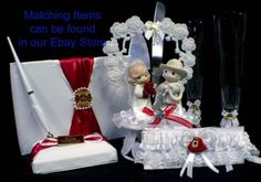 Firefighter wedding lot Glasses, Cake Knife Server Set - Glassware