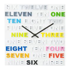 One Two Three Multicolor Clock