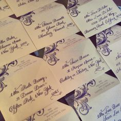 Calligraphy we are working on today.  This is our whimsical script using navy ink.  Loving the envelopes designed by The Pink Orange!