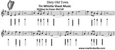 Dirty Old Time whistle music with finger charts