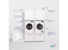 Waschküche Washing machine cabinet with pull-out board (double) - Waschturm.