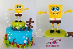 sponge bob cake by cakes-mania - Cake by sharon tzairi - cakes-mania Fondant Toppers, Fondant Cakes, Fondant Decorations, Character Cakes, Sponge Bob, Cake Decorating Tips, Cakes For Boys, Themed Cakes, Amazing Cakes