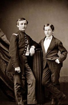 John Clem and Brother.  John Clem, who, at twelve years old, was the youngest Seargent in the US Army in the Civil War.