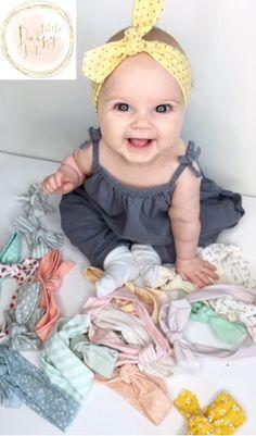 Yellow Polka Dot Headband/ Bbay Turban / Infant Headband / Baby Accessories…