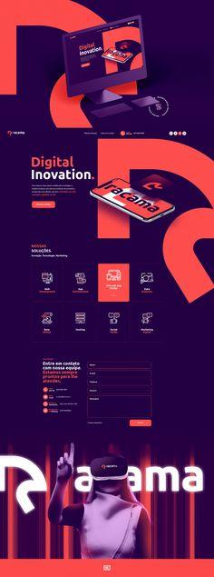 projeto que fizemos para Racama Digital Inovation. Website Design Inspiration, Website Design Layout, Web Layout, Graphic Design Inspiration, Layout Design, Web And App Design, Minimal Web Design, Corporate Design, Branding Design
