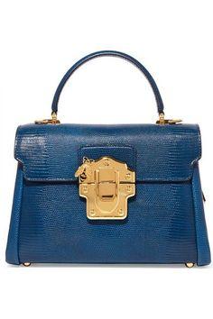 Dolce & Gabbana - Lucia Medium Lizard-effect Leather Shoulder Bag - Blue - one size