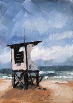Coastal Blue Green Water Beach Lifeguard Station by hartart13, $135.00