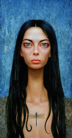 """The Hunted"" - Lori Earley, oil on board, 2000 {figurative #surreal art eerie female head large eyes dragonfly woman face portrait textured painting} loriearley.com"