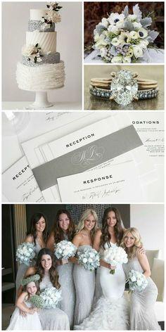 Silver Wedding Inspiration - Gray Script Wedding Invitations, Silver Bridesmaids Dresses, Silver Cake, Winter Wedding