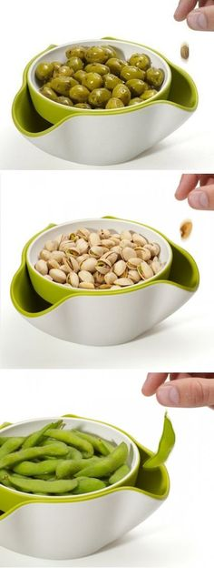 A double bowl, so you can discard nut shells, olive and cherry pits, edamame. Place food in top dish and waste goes underneath! Am I the only one to actually eat pea pods? Cool Kitchen Gadgets, Kitchen Hacks, Cool Kitchens, Awesome Gadgets, Clever Gadgets, Useful Gadgets, Kitchen Pantry, Kitchen Layout, Kitchen Appliances
