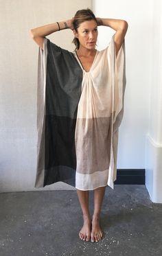 Pink color block caftan - fabric collaboration with sari designer Anavila. @twonewyork #twonewyork