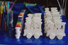vintage train birthday party Love the craft station! Will for sure being doing something similar!