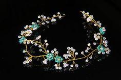 Virid Hair Vine Wedding Hairpiece Gold Cristal Wreath Bride