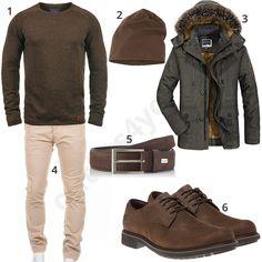 Winteroutfit für Herren mit braunem Blend Strickpullover, Feinstrickmütze, Parka mit Kapuze, beiger Merish Chino, Bugatti Ledergürtel und Timberland Schuhen. #outfit #style #herrenmode #männermode #fashion #menswear #herren #männer #mode #menstyle #mensfashion #menswear #inspiration #cloth #ootd #herrenoutfit #männeroutfit