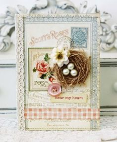 Shabby Chic Card...with tiny nest & embellishments...Nmh.