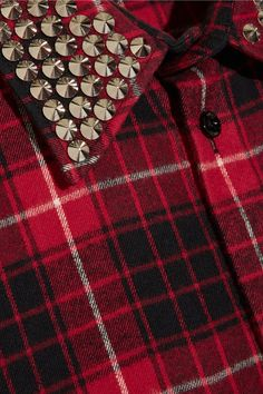 Gucci - Embellished Plaid Cotton-flannel Shirt - Red - IT48