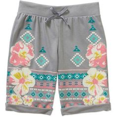 One Step Up Girls' Aztec Boutique Printed Roll-Up Shorts, Size: 4, Gray