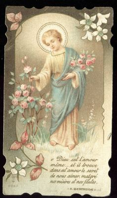 OLD HOLY CARD OF JESUS CHRIST WITH FLOWERS