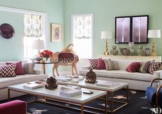Sometimes a #mint green paint #color is all you need for a cheerful living room!