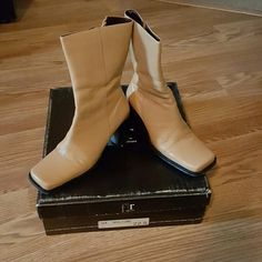 Leather boots Tan, leather boots with black soles and heels. Felipe Rivera Novillo Camel from Mexico. Very well made and only worn a few times. In original box. Felipe rivera Shoes Heeled Boots