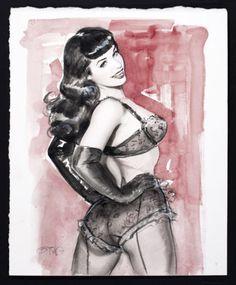 "Original Art By OLIVIA DE BERARDINIS - ""Study of Bettie Page"" watercolor"