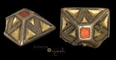Silver-gilt garnet cloison sword pyramid; 6th- 7th c.  A fitting designed to slide on a strap or band securing a sword.