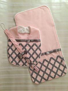 Baby Girl Bib Pink and Gray Bib Set - Pink Baby Bib - Burp Cloth - Binky Clip - Soft Block with Bell Inside- Cute Baby Shower Gift