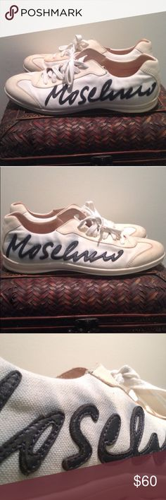 466e7643a933 Shop Men s Moschino Cream Blue size 13 Sneakers at a discounted price at  Poshmark.