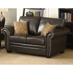 Christies Home Living Louis Collection Antique Brass Nail Head Trim Leather Loveseat - LOUIS-BRN-L