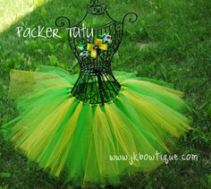 Tutu and Bow -Green Bay Packers Green and Gold tutu - custom order size