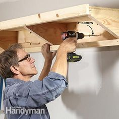 Secure the shelf to the wall. Double Decker Garage Storage Shelves: http://www.familyhandyman.com/garage/storage/double-decker-garage-storage-shelves/view-all