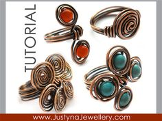 Wire Ring Tutorial Wire Jewelry Pattern by JustynaJewellery