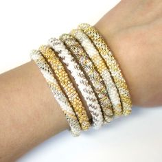 """Classic """"6-Stack"""" Neutral Lily & Laura Bracelets - Fair Trade from Nepal. Get a big discount when you select from our pre-picked sets of 6! Click for details about free shipping!"""