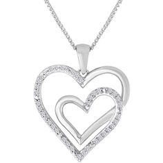 ForeverMine 1/10 CT. T.W. Diamond Sterling Silver Double-Heart Pendant... ($146) ❤ liked on Polyvore featuring jewelry, necklaces, sterling silver diamond necklace, pendants & necklaces, diamond necklaces, heart necklace and sterling silver box chain necklace