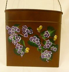 Hand Painted Rusty Metal Hanging Container by bunnyhutchdesigns, $28.00