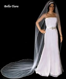 Beautiful silver Beaded Edge cathedral wedding Veil - SPECIAL