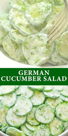 This Creamy German Cucumber Salad is simple, crunchy, and very tasty. It makes a perfect side to any dish and youll want to eat it all summer long. Cooktoria for more deliciousness! Cucumber Recipes, Healthy Salad Recipes, Vegetable Recipes, Vegetarian Recipes, Meal Recipes, Recipes For Cucumbers, Recipes With Avocado, Cucumber Snack, Cucumber Appetizers