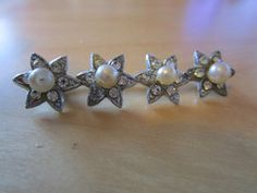 """New Listing Started vintage silvertone four star bar brooch 2""""long in good condition for age £2.35"""