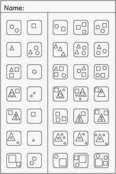 Lernstübchen: one more mini add . Preschool Worksheets, Preschool Learning, Preschool Activities, Teaching, Visual Perceptual Activities, Pattern Worksheet, Occupational Therapy Activities, Math For Kids, Perception