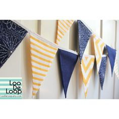 Party Bunting, Garland, Banner in Nautical Yellow, Navy Blue and White for photo props, baby showers, birthday parties, kids play room decor found on Polyvore