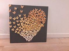 Toile coeur papillons 3d