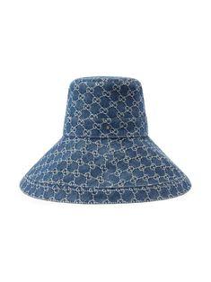Shop Gucci GG supreme denim wide brim hat with Express Delivery - FARFETCH