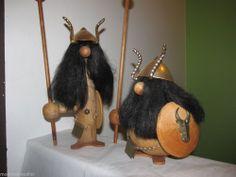 Pair Huge Wood Viking Warriors Danish Modern Spike Sword Helmets Figures