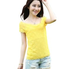>> Click to Buy << Hot Now Women Summer Casual Short-sleeved Low Collar Tops Female Thin Layer Lace Slim T-shirts  #Affiliate