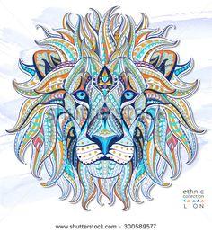 lion head watercolor tattoo - Google Search