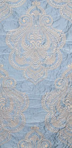 """Hillcrest"" ivory embroidery on celestial blue from the ""Avalon"" collection by Scalamandre Fabrics (49% Silk, 46% Viscose, 5% Spun Polyester."