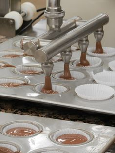 Filling chocolate cupcakes! #batter