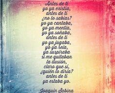 Antes de ti. Imperfecto-Joaquin sabina