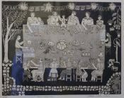 Black and white etching with several figures seated at a table. Mexican Museum, Black And White, Decor, Decoration, Black N White, Black White, Decorating, Deco