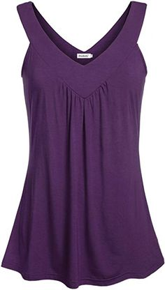 f5980b62f733d Ninedaily Women Comfy Sleeveless Tunic Top Pleated V Neck Tanks Vest Summer  Purple at Amazon Women s Clothing store